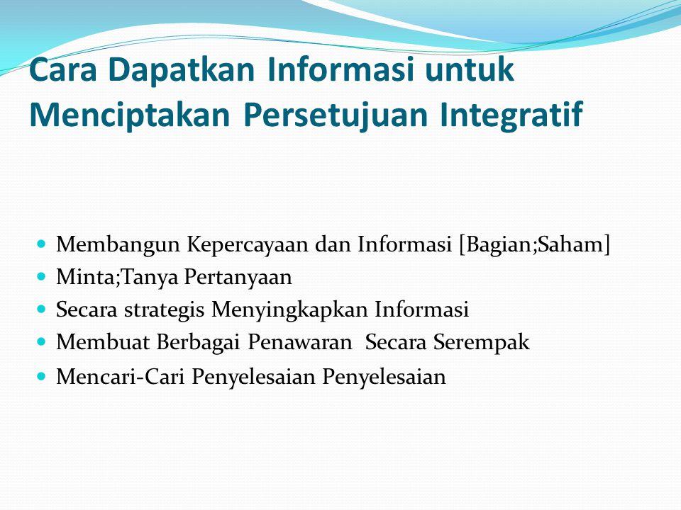 Cara Dapatkan Informasi untuk Menciptakan Persetujuan Integratif Membangun Kepercayaan dan Informasi [Bagian;Saham] Minta;Tanya Pertanyaan Secara strategis Menyingkapkan Informasi Membuat Berbagai Penawaran Secara Serempak Mencari-Cari Penyelesaian Penyelesaian