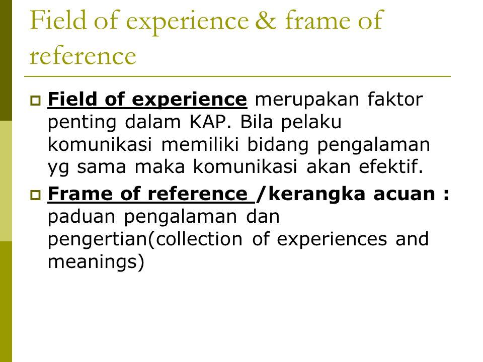 Field of experience & frame of reference  Field of experience merupakan faktor penting dalam KAP. Bila pelaku komunikasi memiliki bidang pengalaman y