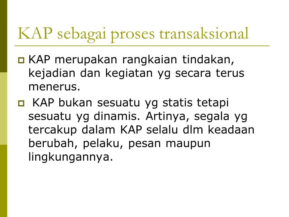 KAP sebagai proses transaksional  KAP merupakan rangkaian tindakan, kejadian dan kegiatan yg secara terus menerus.  KAP bukan sesuatu yg statis teta