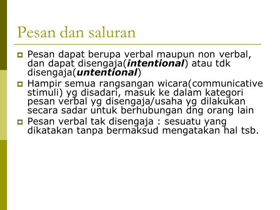 Pesan dan saluran  Pesan dapat berupa verbal maupun non verbal, dan dapat disengaja(intentional) atau tdk disengaja(untentional)  Hampir semua rangs