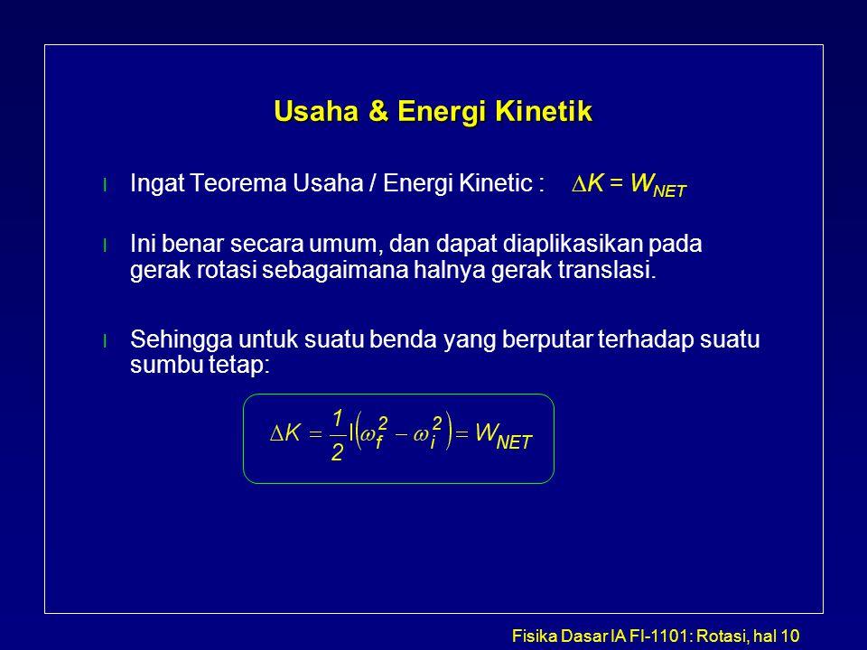 Fisika Dasar IA FI-1101: Rotasi, hal 10 Usaha & Energi Kinetik Ingat Teorema Usaha / Energi Kinetic :  K = W NET l Ini benar secara umum, dan dapat d