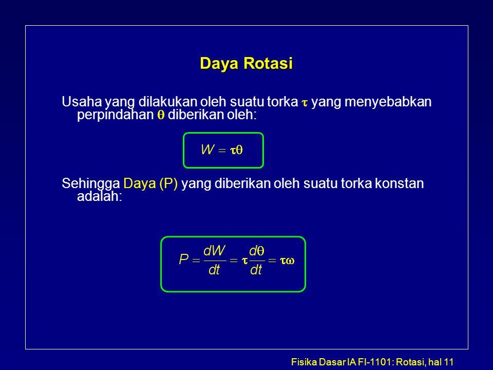 Fisika Dasar IA FI-1101: Rotasi, hal 11 Daya Rotasi Usaha yang dilakukan oleh suatu torka  yang menyebabkan perpindahan  diberikan oleh: Sehingga Da