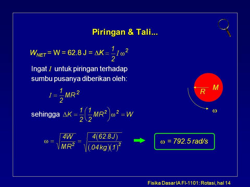 Fisika Dasar IA FI-1101: Rotasi, hal 14 Piringan & Tali... W NET = W = 62.8 J =  K Ingat  I  untuk piringan terhadap sumbu pusanya diberikan oleh:
