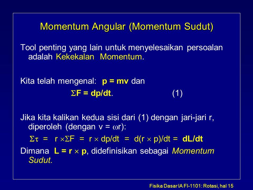 Fisika Dasar IA FI-1101: Rotasi, hal 15 Momentum Angular (Momentum Sudut) Tool penting yang lain untuk menyelesaikan persoalan adalah Kekekalan Moment