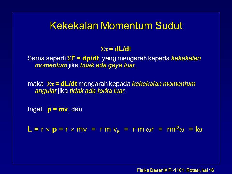 Fisika Dasar IA FI-1101: Rotasi, hal 16 Kekekalan Momentum Sudut  = dL/dt Sama seperti  F = dp/dt yang mengarah kepada kekekalan momentum jika tida