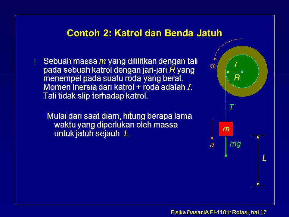 Fisika Dasar IA FI-1101: Rotasi, hal 17 Contoh 2: Katrol dan Benda Jatuh Sebuah massa m yang dililitkan dengan tali pada sebuah katrol dengan jari-jar