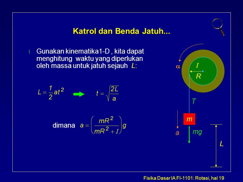 Fisika Dasar IA FI-1101: Rotasi, hal 19 Katrol dan Benda Jatuh... l Gunakan kinematika1-D, kita dapat menghitung waktu yang diperlukan oleh massa untu
