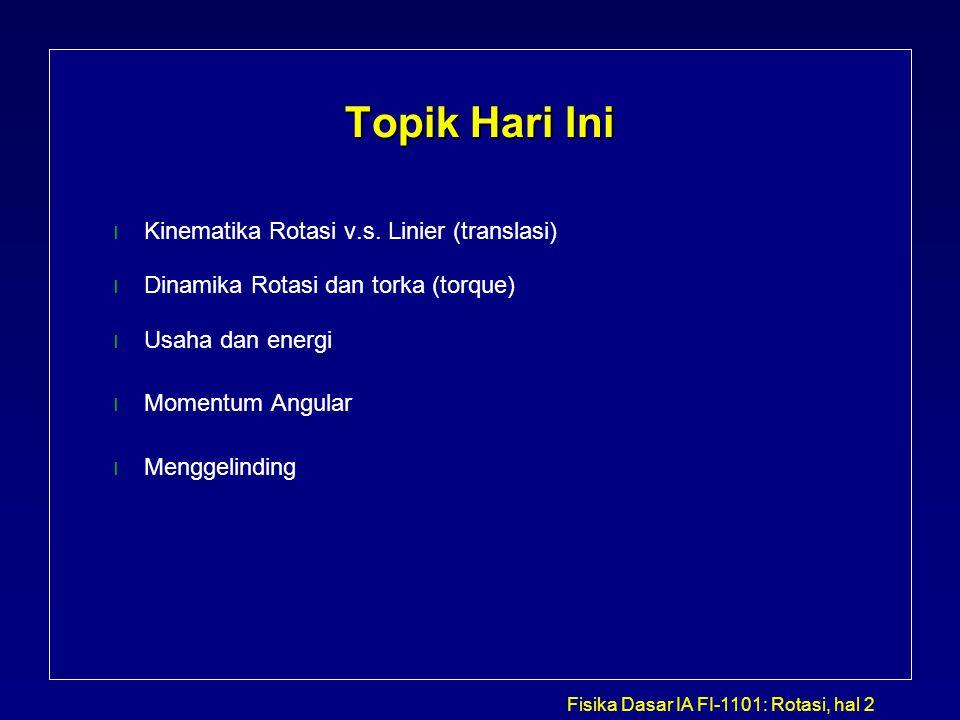 Fisika Dasar IA FI-1101: Rotasi, hal 2 Topik Hari Ini l Kinematika Rotasi v.s. Linier (translasi) l Dinamika Rotasi dan torka (torque) l Usaha dan ene