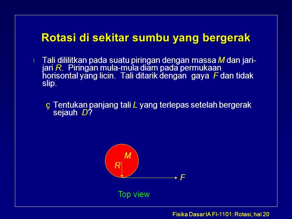 Fisika Dasar IA FI-1101: Rotasi, hal 20 Rotasi di sekitar sumbu yang bergerak l Tali dililitkan pada suatu piringan dengan massa M dan jari- jari R. P