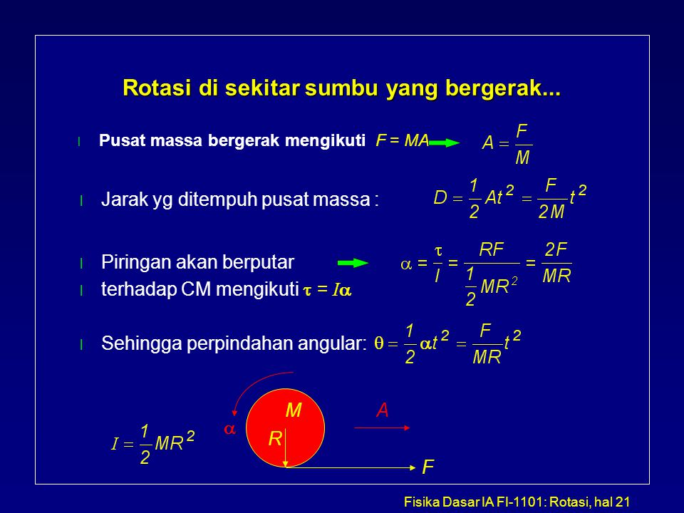 Fisika Dasar IA FI-1101: Rotasi, hal 21 Rotasi di sekitar sumbu yang bergerak... l Pusat massa bergerak mengikuti F = MA F MA l Jarak yg ditempuh pusa