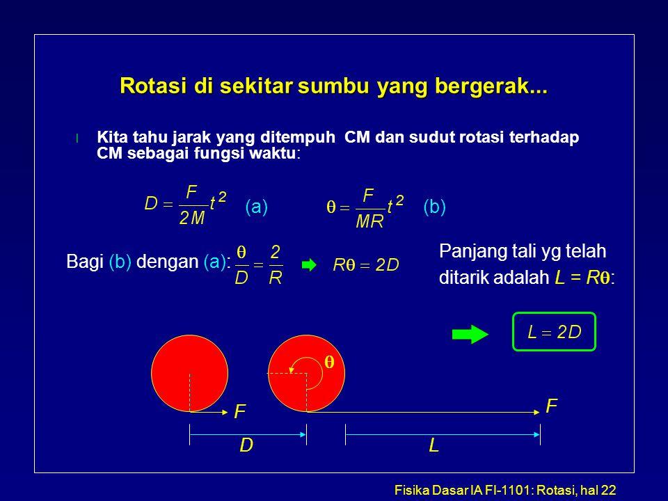 Fisika Dasar IA FI-1101: Rotasi, hal 22 Rotasi di sekitar sumbu yang bergerak... Kita tahu jarak yang ditempuh CM dan sudut rotasi terhadap CM sebagai