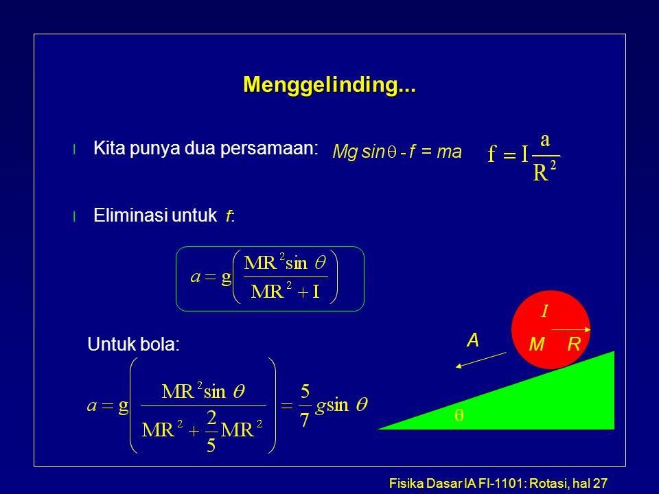 Fisika Dasar IA FI-1101: Rotasi, hal 27 Menggelinding... l Kita punya dua persamaan: l Eliminasi untuk f:  A R I M Untuk bola: