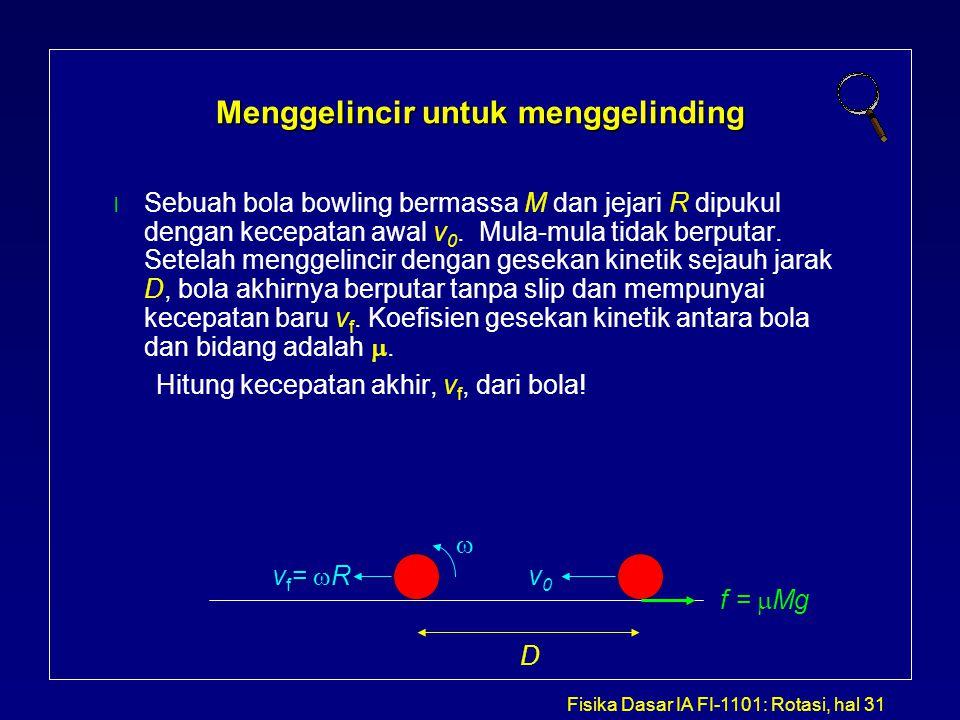 Fisika Dasar IA FI-1101: Rotasi, hal 31 Menggelincir untuk menggelinding Sebuah bola bowling bermassa M dan jejari R dipukul dengan kecepatan awal v 0