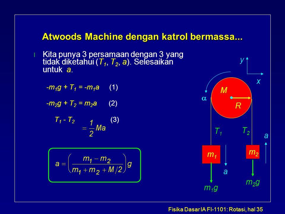 Fisika Dasar IA FI-1101: Rotasi, hal 35 Atwoods Machine dengan katrol bermassa... l Kita punya 3 persamaan dengan 3 yang tidak diketahui (T 1, T 2, a)