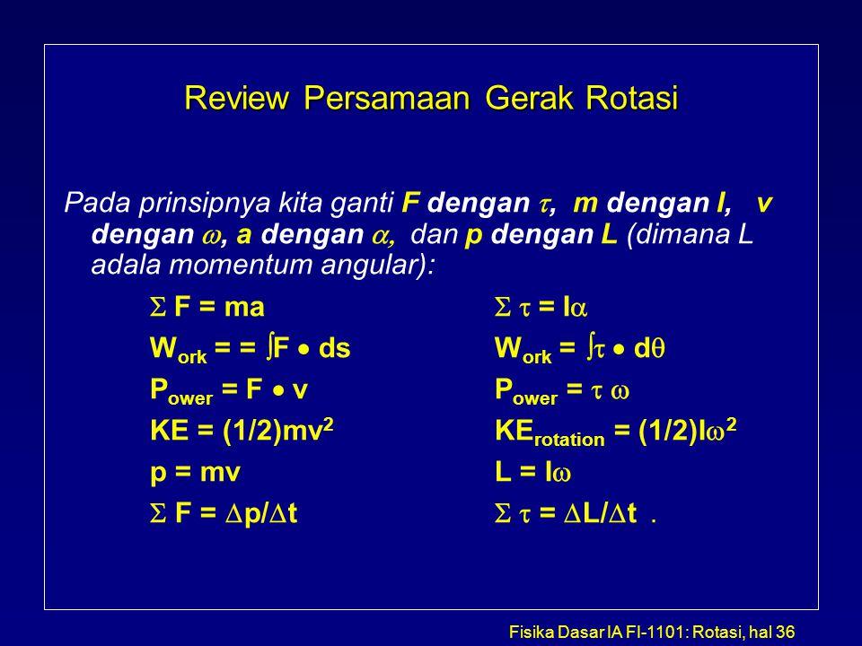 Fisika Dasar IA FI-1101: Rotasi, hal 36 Review Persamaan Gerak Rotasi Pada prinsipnya kita ganti F dengan , m dengan I, v dengan , a dengan  dan