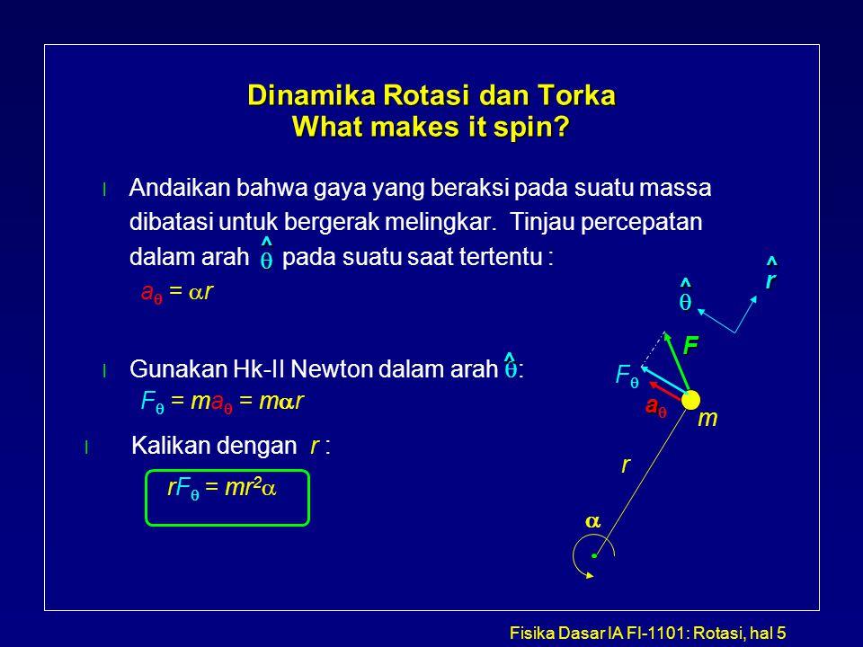 Fisika Dasar IA FI-1101: Rotasi, hal 5 Dinamika Rotasi dan Torka What makes it spin? l Andaikan bahwa gaya yang beraksi pada suatu massa dibatasi untu