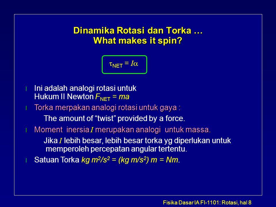 Fisika Dasar IA FI-1101: Rotasi, hal 8 Dinamika Rotasi dan Torka … What makes it spin?   NET = I  l Ini a