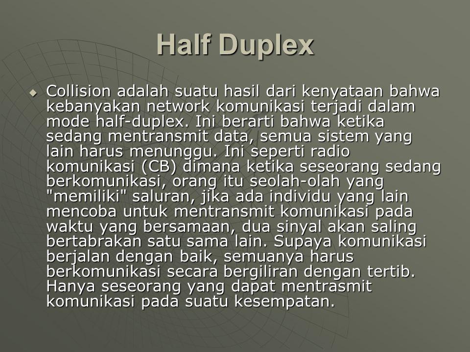 Half Duplex  Collision adalah suatu hasil dari kenyataan bahwa kebanyakan network komunikasi terjadi dalam mode half-duplex.