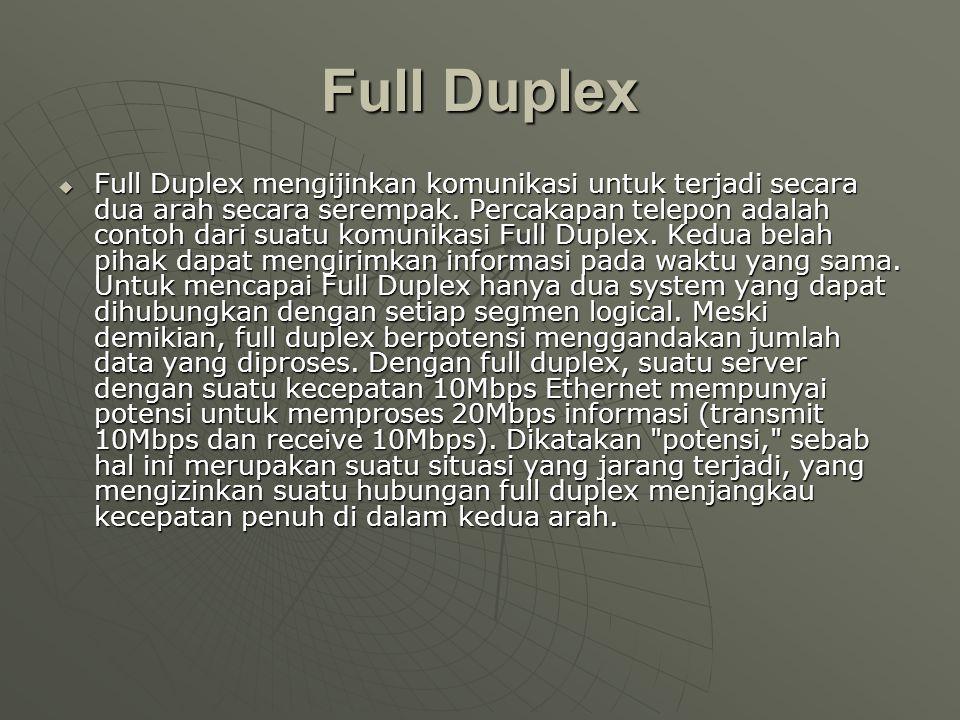 Full Duplex  Full Duplex mengijinkan komunikasi untuk terjadi secara dua arah secara serempak.