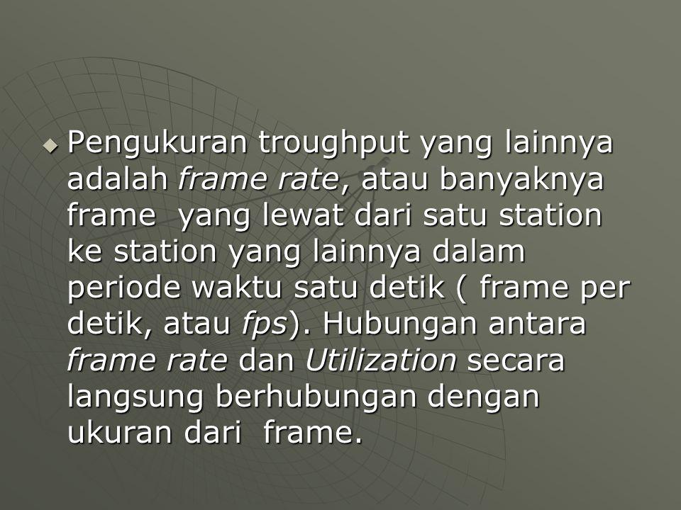  Pengukuran troughput yang lainnya adalah frame rate, atau banyaknya frame yang lewat dari satu station ke station yang lainnya dalam periode waktu satu detik ( frame per detik, atau fps).