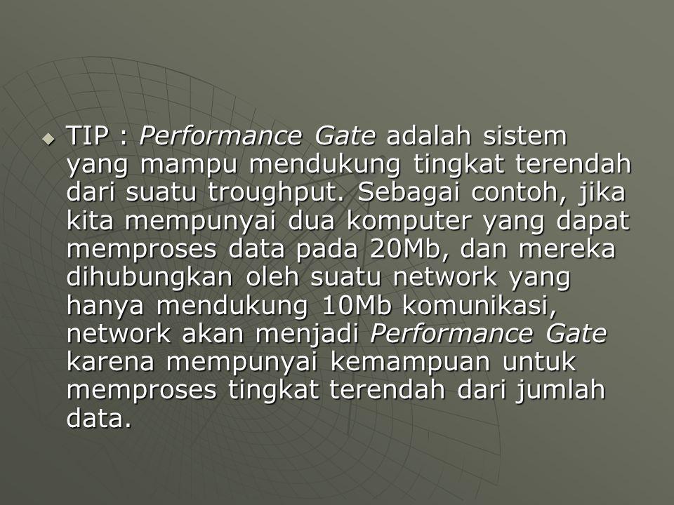  TIP : Performance Gate adalah sistem yang mampu mendukung tingkat terendah dari suatu troughput.