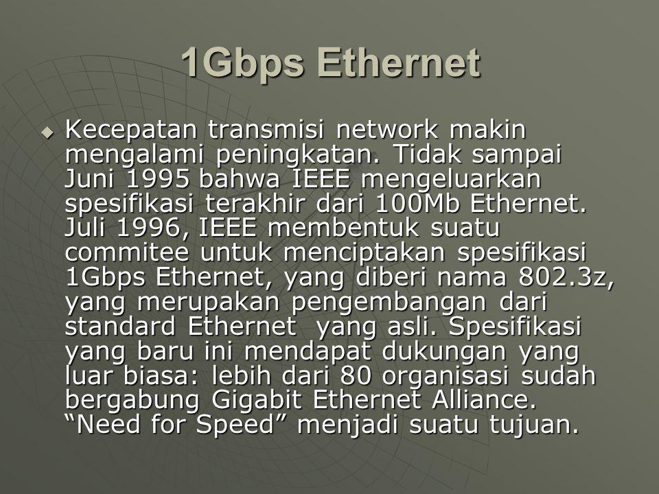 1Gbps Ethernet  Kecepatan transmisi network makin mengalami peningkatan.
