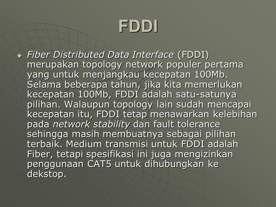 FDDI  Fiber Distributed Data Interface (FDDI) merupakan topology network populer pertama yang untuk menjangkau kecepatan 100Mb.