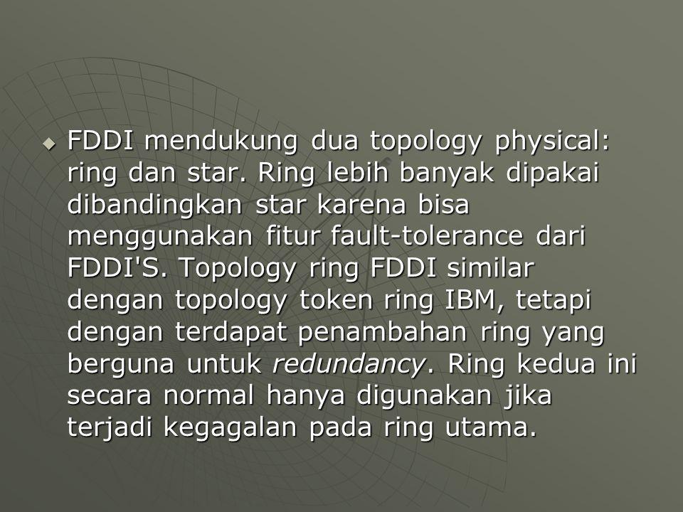  FDDI mendukung dua topology physical: ring dan star.