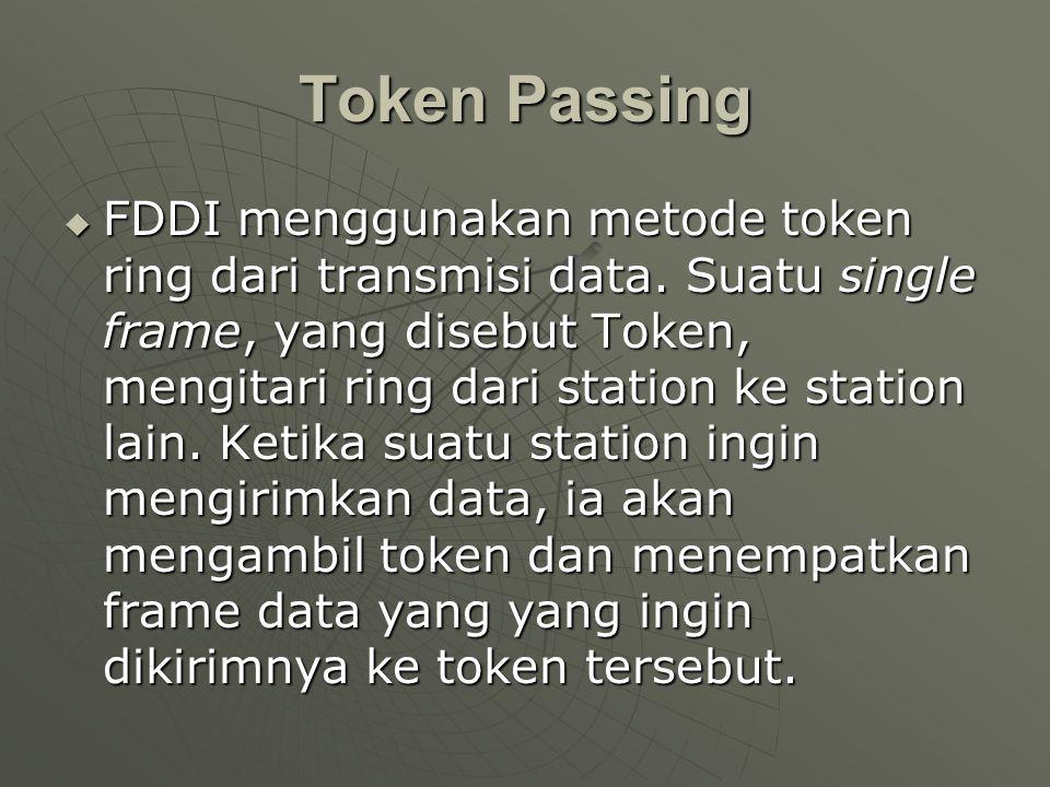 Token Passing  FDDI menggunakan metode token ring dari transmisi data.