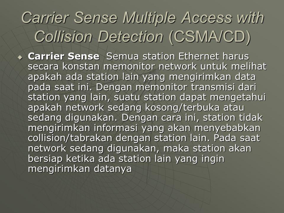 Carrier Sense Multiple Access with Collision Detection (CSMA/CD)  Carrier Sense Semua station Ethernet harus secara konstan memonitor network untuk melihat apakah ada station lain yang mengirimkan data pada saat ini.