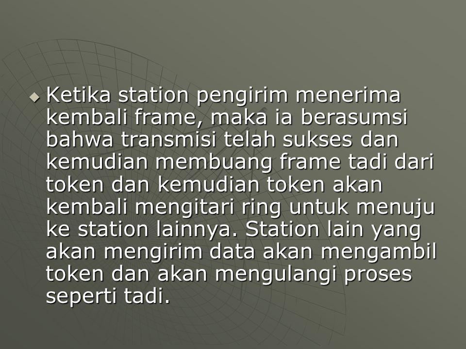  Ketika station pengirim menerima kembali frame, maka ia berasumsi bahwa transmisi telah sukses dan kemudian membuang frame tadi dari token dan kemudian token akan kembali mengitari ring untuk menuju ke station lainnya.