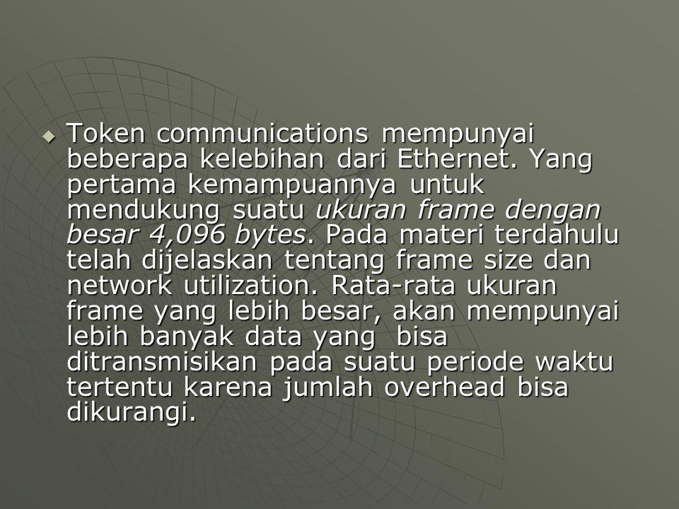  Token communications mempunyai beberapa kelebihan dari Ethernet. Yang pertama kemampuannya untuk mendukung suatu ukuran frame dengan besar 4,096 byt