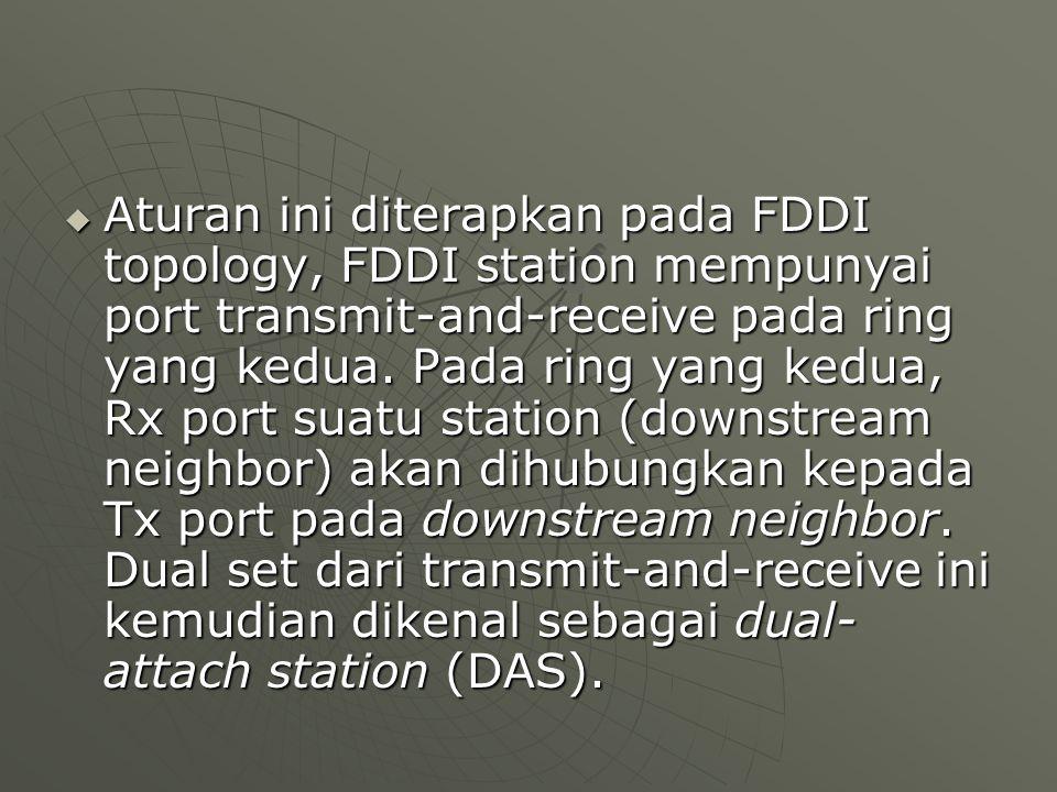  Aturan ini diterapkan pada FDDI topology, FDDI station mempunyai port transmit-and-receive pada ring yang kedua.