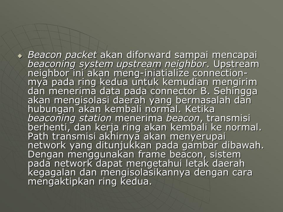 Beacon packet akan diforward sampai mencapai beaconing system upstream neighbor. Upstream neighbor ini akan meng-iniatialize connection- mya pada ri