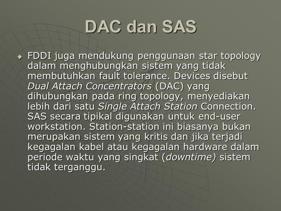 DAC dan SAS  FDDI juga mendukung penggunaan star topology dalam menghubungkan sistem yang tidak membutuhkan fault tolerance.