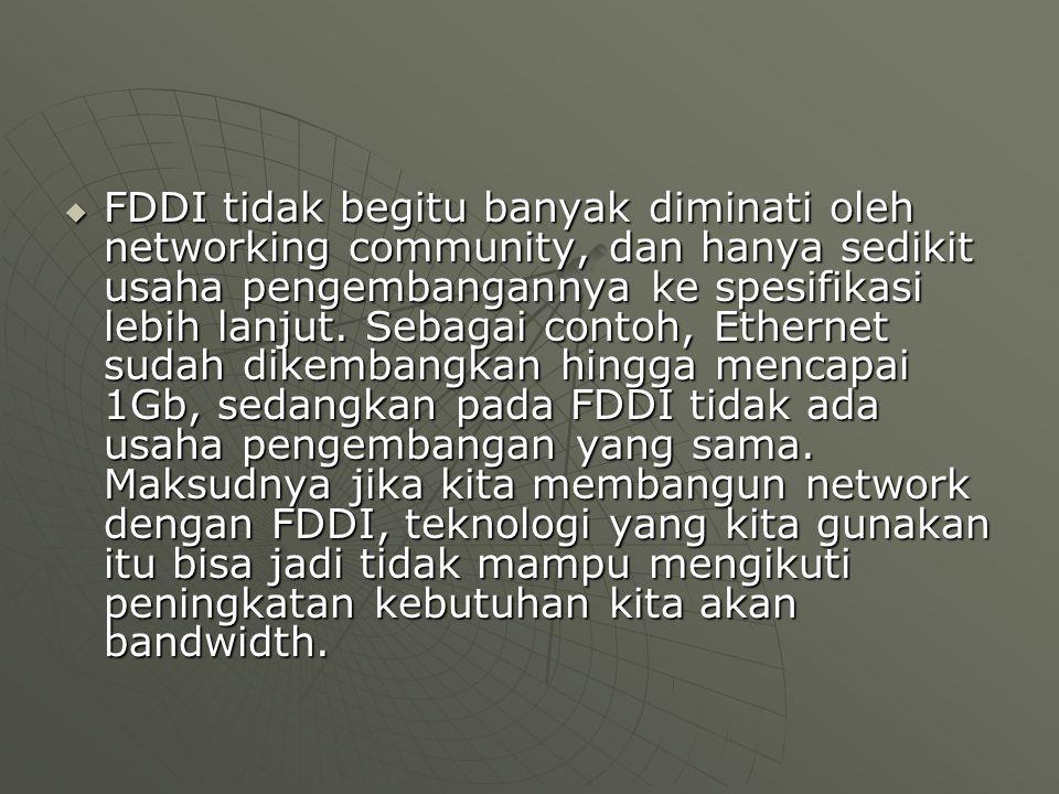  FDDI tidak begitu banyak diminati oleh networking community, dan hanya sedikit usaha pengembangannya ke spesifikasi lebih lanjut.