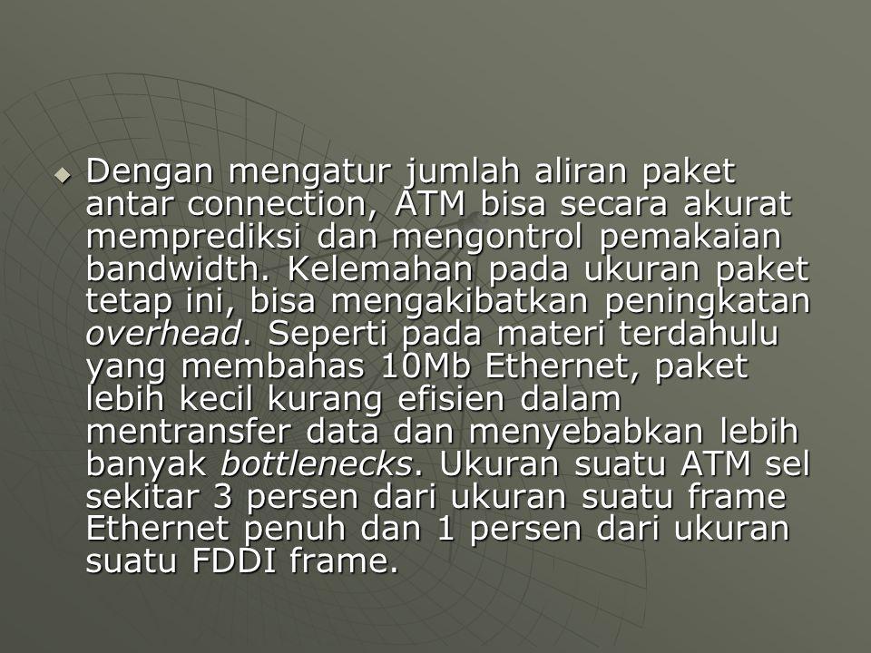  Dengan mengatur jumlah aliran paket antar connection, ATM bisa secara akurat memprediksi dan mengontrol pemakaian bandwidth.