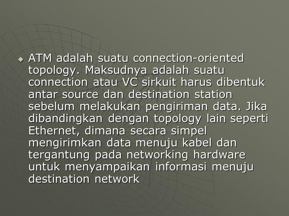  ATM adalah suatu connection-oriented topology. Maksudnya adalah suatu connection atau VC sirkuit harus dibentuk antar source dan destination station