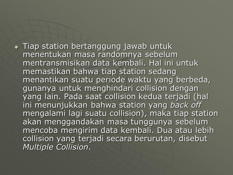  Tiap station bertanggung jawab untuk menentukan masa randomnya sebelum mentransmisikan data kembali. Hal ini untuk memastikan bahwa tiap station sed