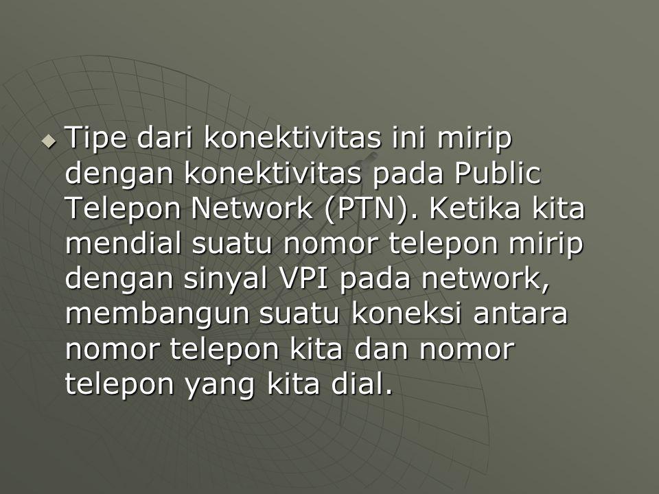 Tipe dari konektivitas ini mirip dengan konektivitas pada Public Telepon Network (PTN).