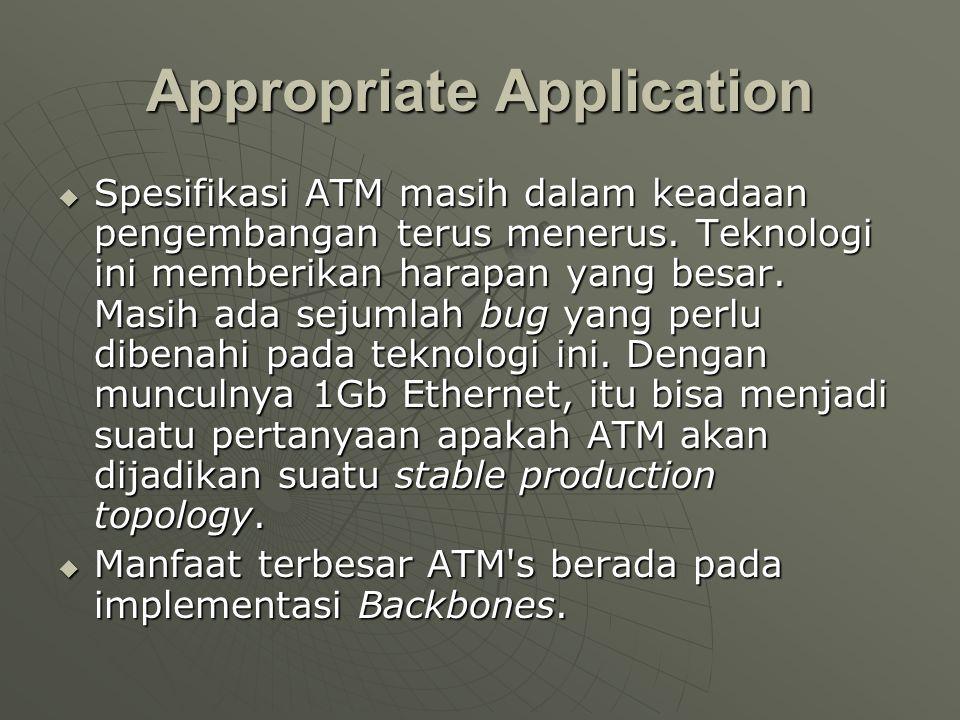 Appropriate Application  Spesifikasi ATM masih dalam keadaan pengembangan terus menerus.