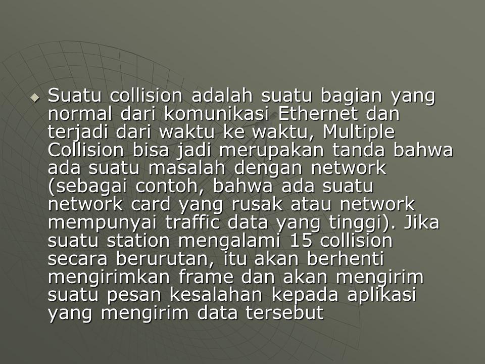  Suatu collision adalah suatu bagian yang normal dari komunikasi Ethernet dan terjadi dari waktu ke waktu, Multiple Collision bisa jadi merupakan tanda bahwa ada suatu masalah dengan network (sebagai contoh, bahwa ada suatu network card yang rusak atau network mempunyai traffic data yang tinggi).