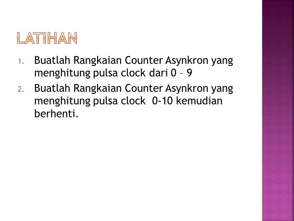 1. Buatlah Rangkaian Counter Asynkron yang menghitung pulsa clock dari 0 – 9 2. Buatlah Rangkaian Counter Asynkron yang menghitung pulsa clock 0-10 ke