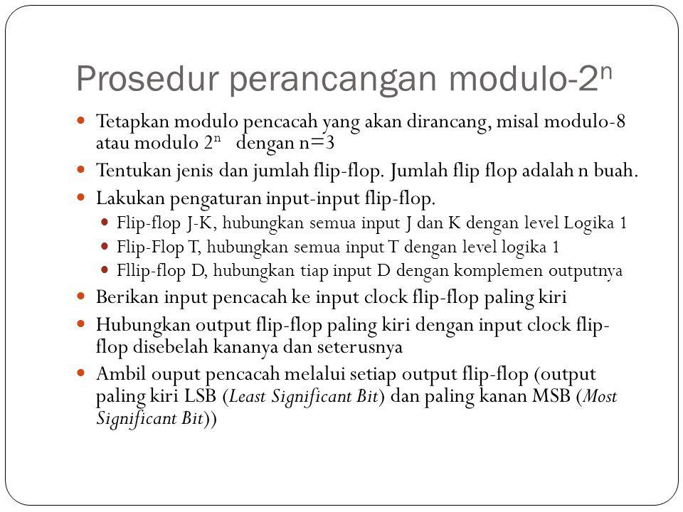 Prosedur perancangan modulo-2 n Tetapkan modulo pencacah yang akan dirancang, misal modulo-8 atau modulo 2 n dengan n=3 Tentukan jenis dan jumlah flip