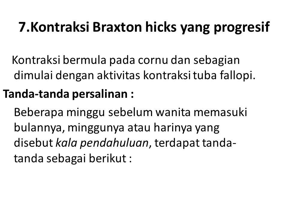 7.Kontraksi Braxton hicks yang progresif Kontraksi bermula pada cornu dan sebagian dimulai dengan aktivitas kontraksi tuba fallopi. Tanda-tanda persal
