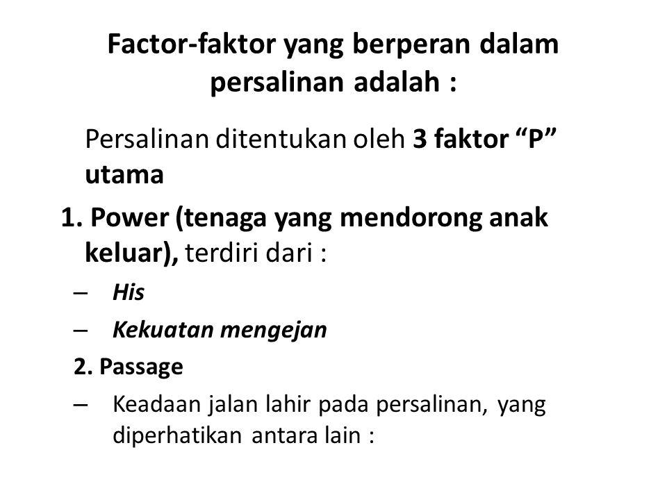 "Factor-faktor yang berperan dalam persalinan adalah : Persalinan ditentukan oleh 3 faktor ""P"" utama 1. Power (tenaga yang mendorong anak keluar), terd"