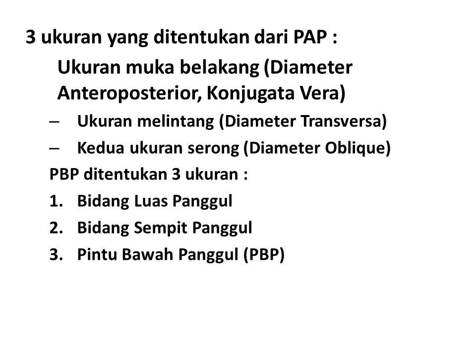 3 ukuran yang ditentukan dari PAP : Ukuran muka belakang (Diameter Anteroposterior, Konjugata Vera) – Ukuran melintang (Diameter Transversa) – Kedua u