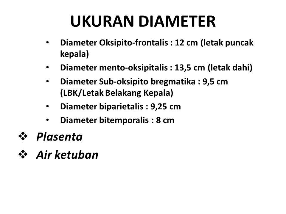 UKURAN DIAMETER Diameter Oksipito-frontalis : 12 cm (letak puncak kepala) Diameter mento-oksipitalis : 13,5 cm (letak dahi) Diameter Sub-oksipito breg