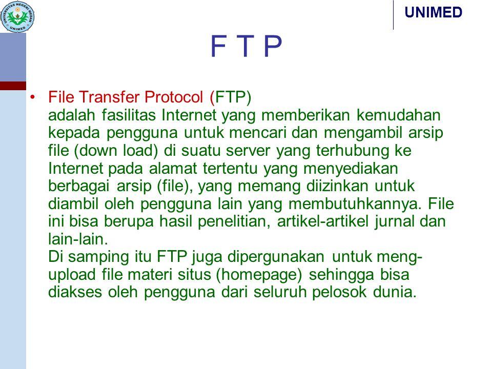 UNIMED F T P File Transfer Protocol (FTP) adalah fasilitas Internet yang memberikan kemudahan kepada pengguna untuk mencari dan mengambil arsip file (