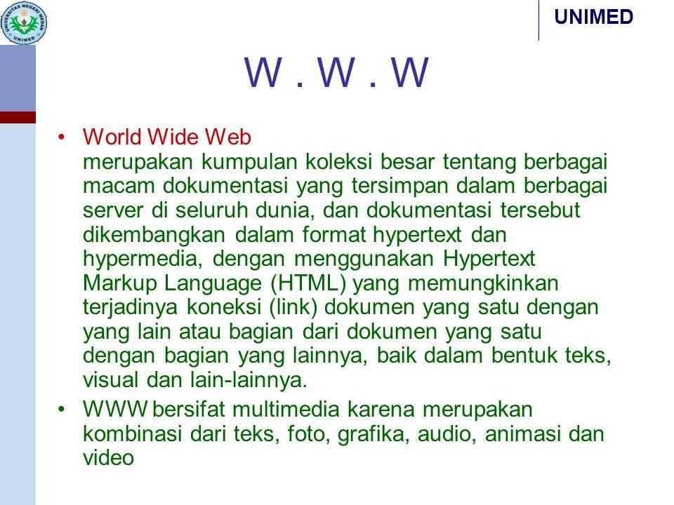 UNIMED W. W. W World Wide Web merupakan kumpulan koleksi besar tentang berbagai macam dokumentasi yang tersimpan dalam berbagai server di seluruh duni
